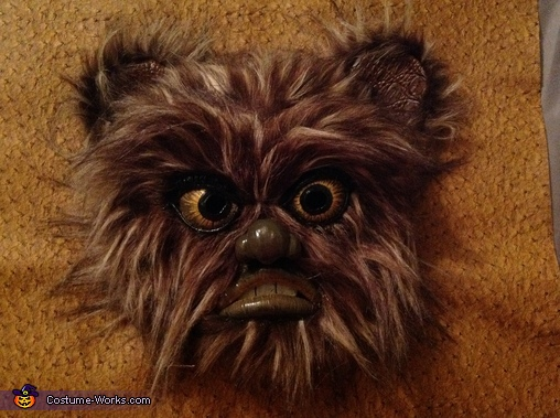 Closeup of finished mask, Ewok Costume