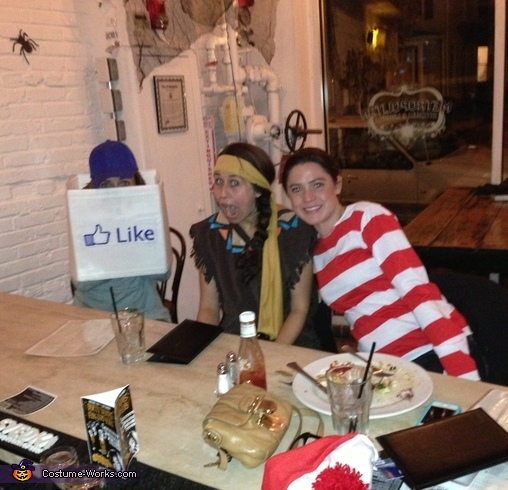Out with friends at our favorite local hang out., Facebook Like Box Costume