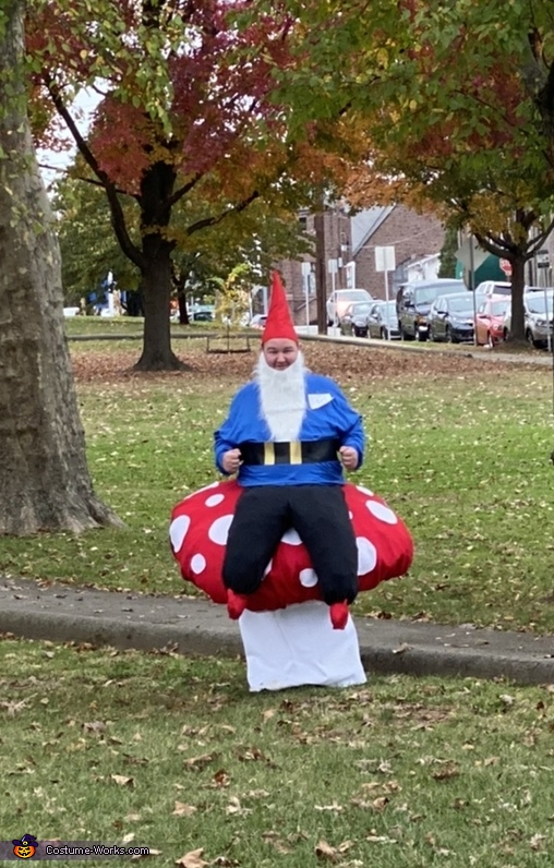 Gnome sitting on a toadstool, Fairy Garden Costume