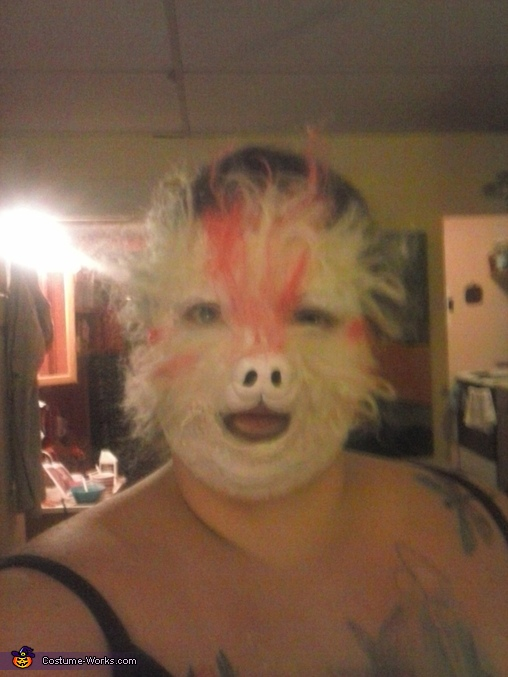 little by little I apply latex and then hair, Falkor Costume