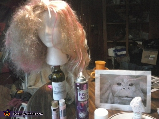 wig halfway done with nose painted, Falkor Costume