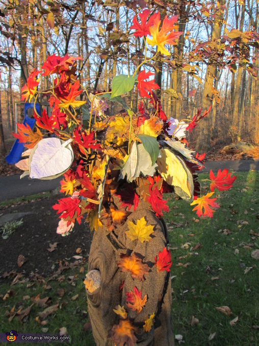 close view of headdress, Fall Tree Costume