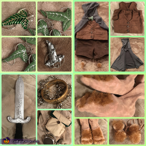 All of their accessories., Family of Hobbits Costume