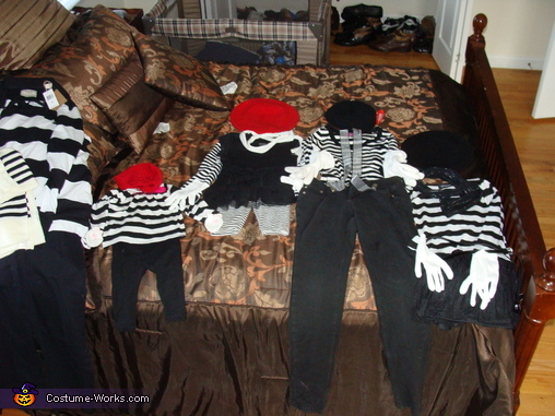 put together piece by piece, Family of Mimes Costume