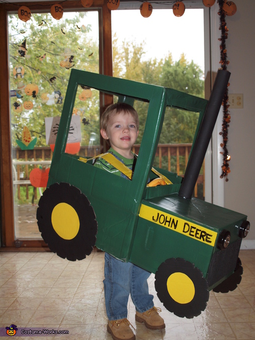 side view, Farmer in a John Deere Tractor Costume