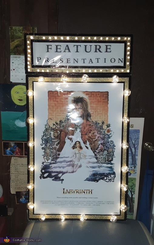 Up close photo of our 'Feature Movie Premiere' walking sign, Feature Premiere of the 21st centuries Labyrinth Costume