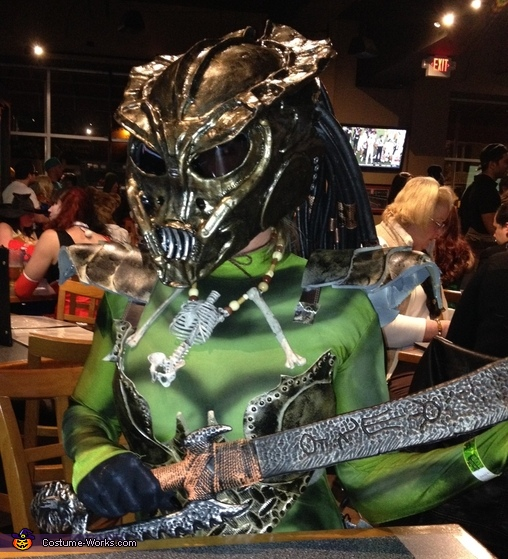 Close up of Helmet, Female Predator Costume