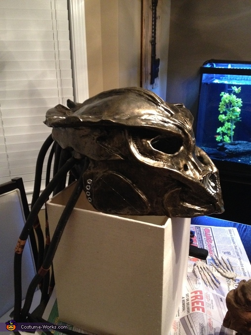 After painted, putting on dreads, Female Predator Costume
