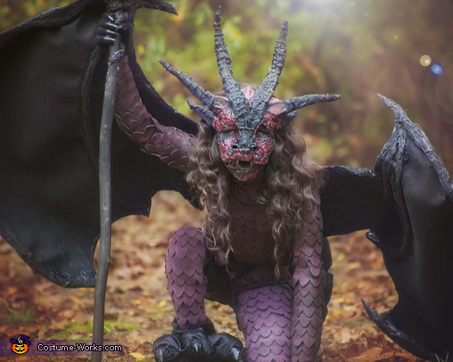 Dragon half view, Fierce fiery Dragon Costume