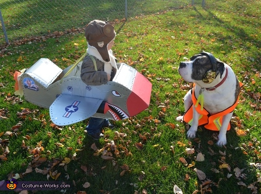 Fighter Pilot with American Bulldog Ground Crew 2, Fighter Pilot Costume