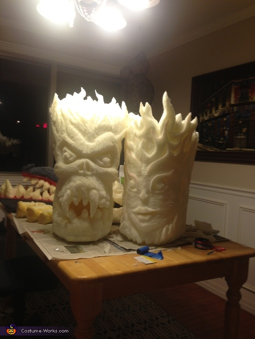 Still carving, Fire Demon and Fire Nymph Costume