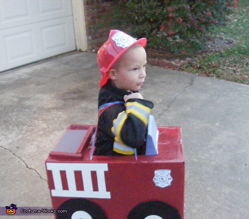 His crest and engine decal that Gabe designed!, Fire Engine Costume