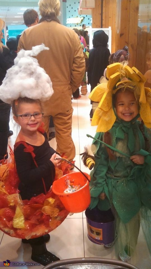 Here she is trick or treating with her cousin (my daughter)., Fire Flame Costume