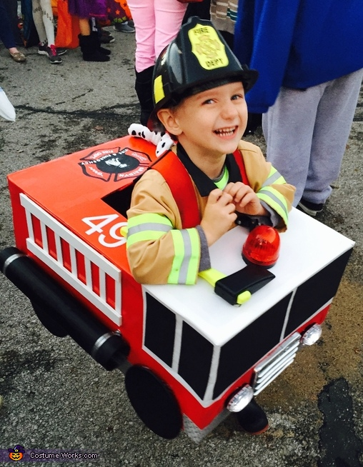 He was so excited, Fire Truck Costume