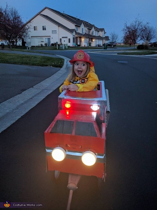 Penny so excited in her fire truck for the first time!, Fire Truck Costume