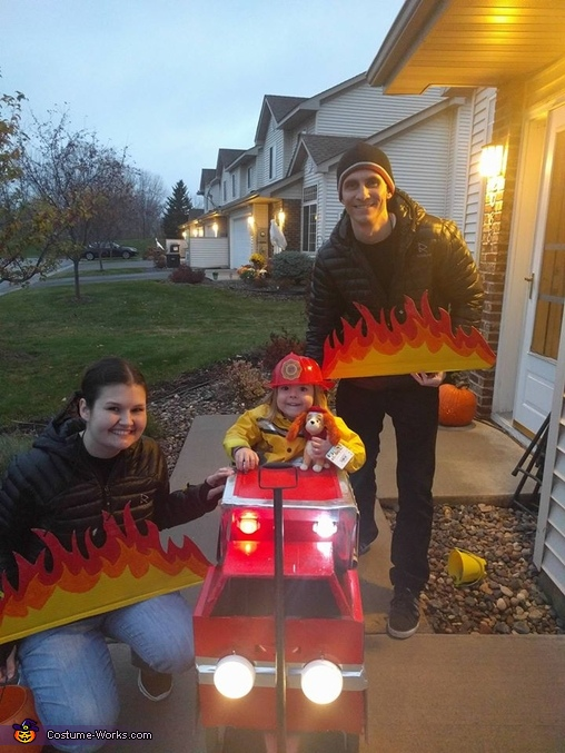 Before trick or treating, Fire Truck Costume