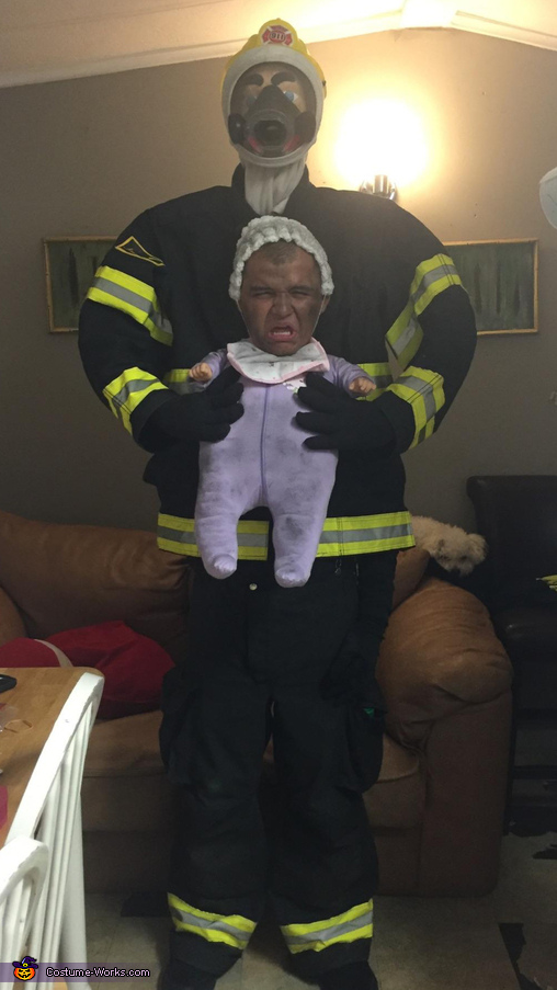 Firefighter saving Baby Costume