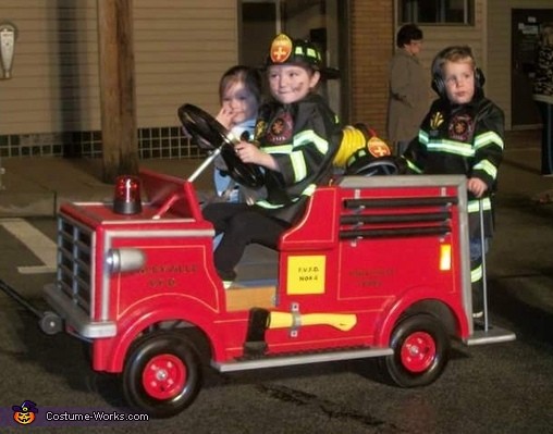 Firetruck with Firemen and Dalmation Costume
