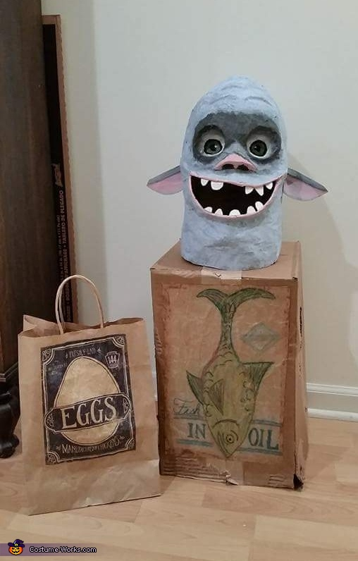 Trick or treat bag, body, and head, Fish the Boxtroll Costume