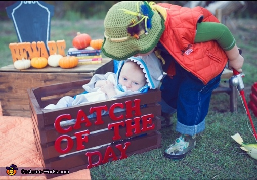 Fish man loving his shark, Fisherman and Shark Baby Costume