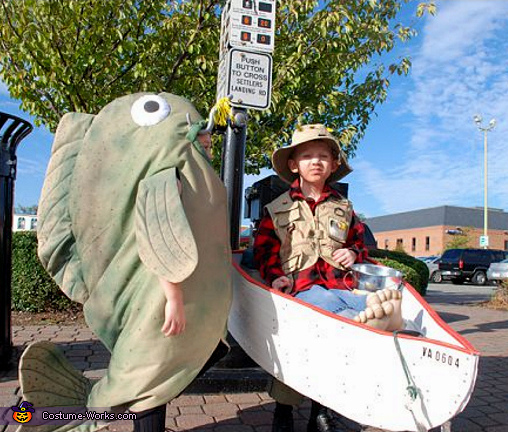 Fish and Fisherman - Homemade costumes for boys