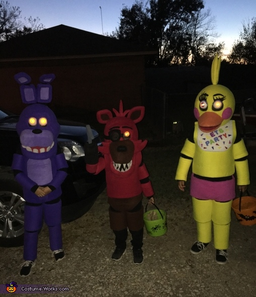 FNAF at night, Five Nights at Freddy's Toy Chica, Bonnie and Foxy Costume