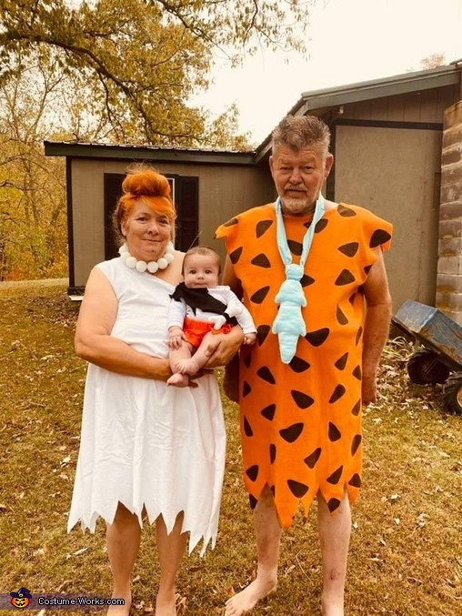 Wilma Bam bam and fred, Flintstone Family Costume