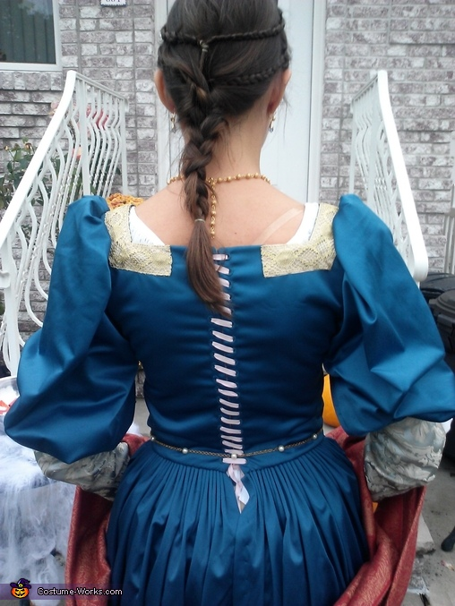The back laces up with 40 holes, all sewn by hand with period-accurate techniques., Florentine Gown Costume
