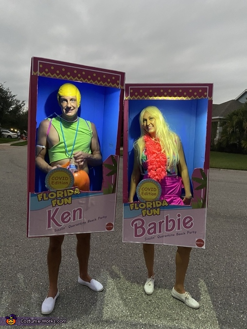 Boxes lit up, Florida Fun Covid edition Barbie Costume