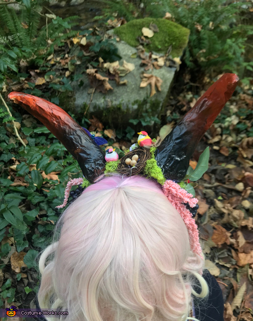 A bird nest on her head., Forest Fairy Costume