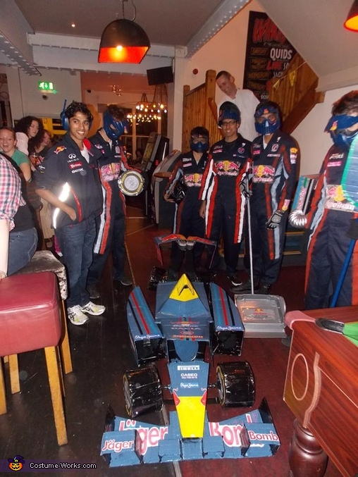 Formula One Car and Pit Crew Group Costume