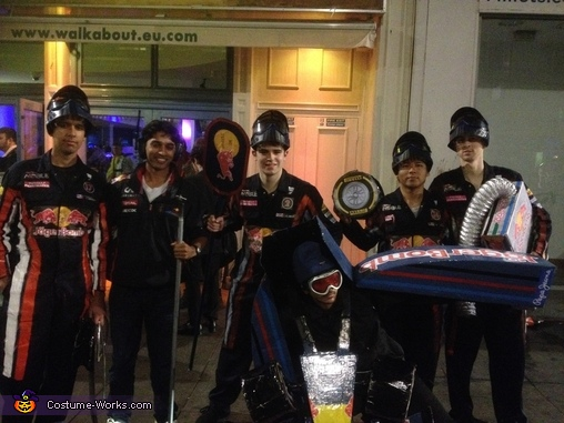 Another Team Photo, Formula One Car and Pit Crew Group Costume