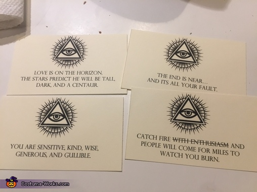 Some of the 40 unique fortune cards I created. Some were made up, and others i found online., Fortune Teller Machine Costume