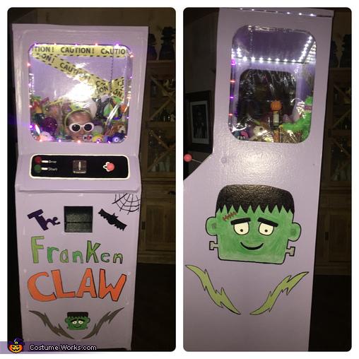 Front & Side view of Franken Claw Machine, Franken Claw Arcade Costume