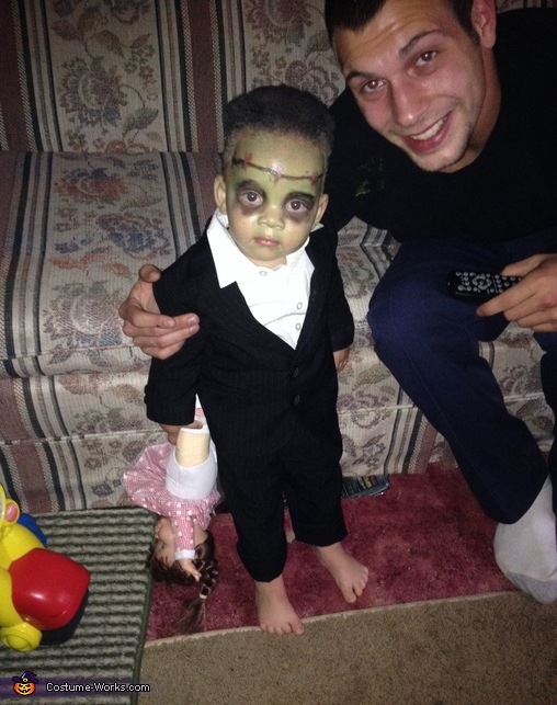 This was him with daddy before boots on!, Frankenstein Costume