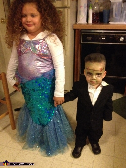 Him with he's cousin but he started rubbing the paint off :), Frankenstein Costume