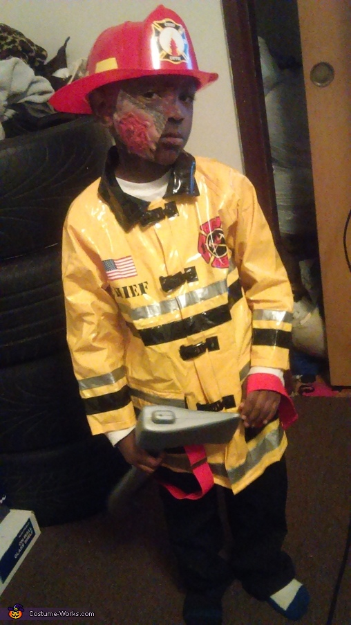 Zontario as the firefighter, Frankie Stein and the Firefighter Costumes