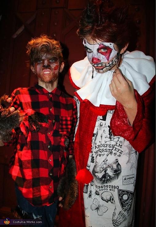 Wolf boy and creepy clown, Freakshow Costume