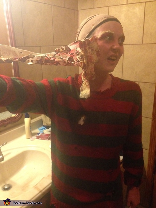 And after, Freddy Krueger Costume