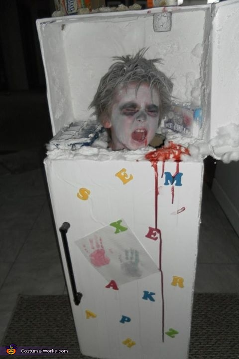 Frozen Guy in a Fridge Costume