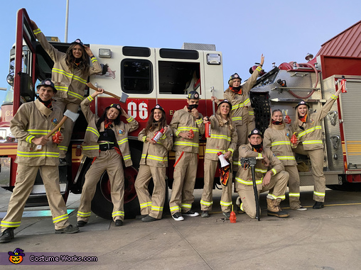 Firefighters and truck, Frisky Firefighters Costume