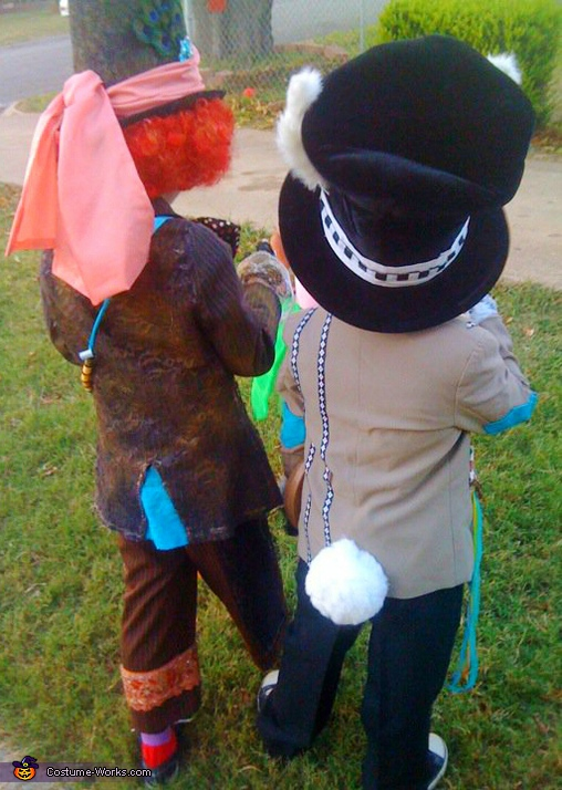 from the back!. Mad Hatter & Crazy Rabbit - Homemade costumes for kids