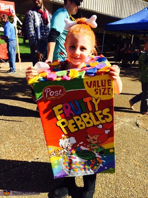 Fruity Pebbles with Pebbles Flintstone Costume