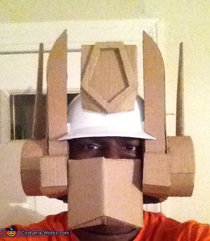 This is the complete pre-painted helmet, made from a hardhat and cardboard, G1 Optimus Prime Costume