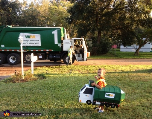 Comparing Garbage Trucks, Garbage Man with Truck Costume