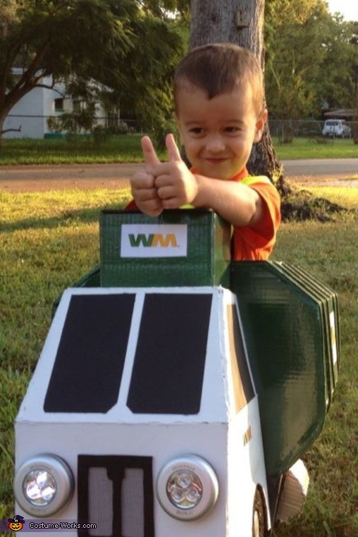 Happy Garbage Man Costume- two thumbs up!, Garbage Man with Truck Costume