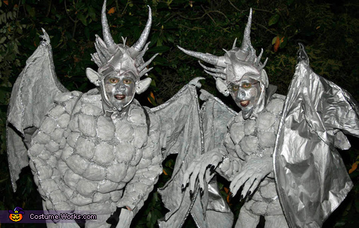 Gargoyles Close Up, Gargoyles Perched on Stone Pedestals Costume