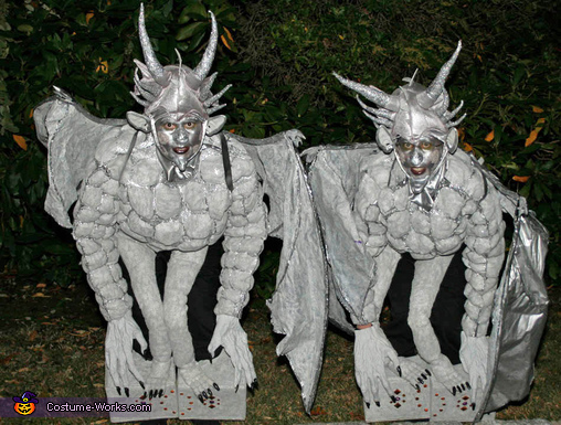 Gargoyles Perched on Stone Pedestals - Homemade costumes for adults