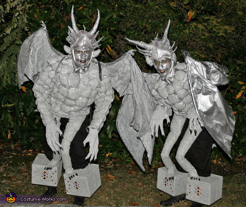 gargoyles standing gargoyles perched on stone pedestals costume
