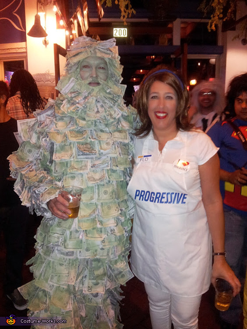 Geico Money Man and Flo from Progressive Couple Costume